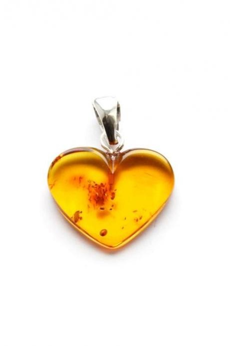 Baltic amber heart pendant for women, heart pendant, Baltic amber, gift idea for girls, cognac amber, orange flat heart, 2637
