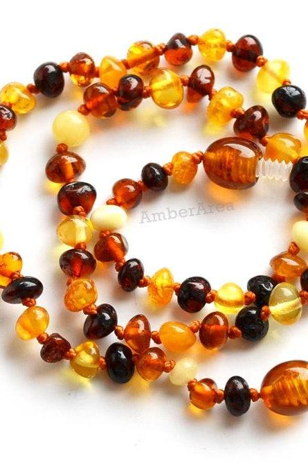 Baroque babies necklace, Amber necklace for babies, Teething amber, mixed Amber, kids jewelry, for children, 2849