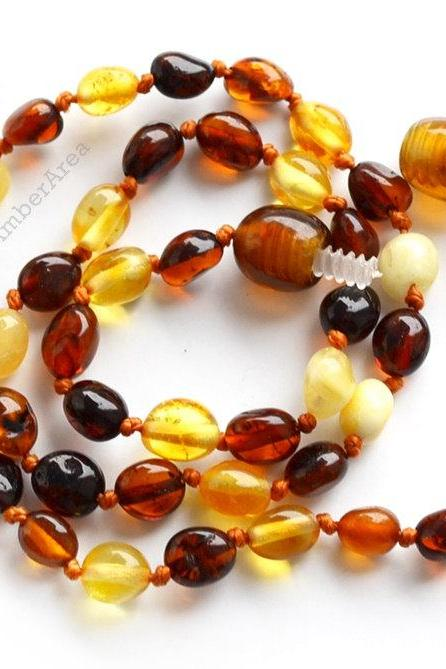 Olive Teething Amber necklace for Children. Baby Amber jewelry, olive beads, multicolor Teething, Baby christening, 1661