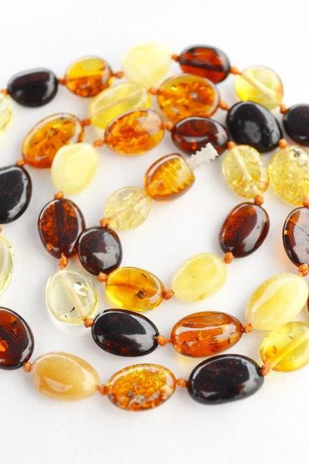 Amber necklace, Baltic amber necklace, amber beads, Gift for Mom, multi-color necklace, mix color necklace, 1504