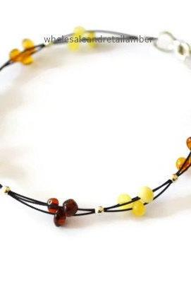 Natural baltic amber bracelet with cable charm bracelet jewelry (hb033)