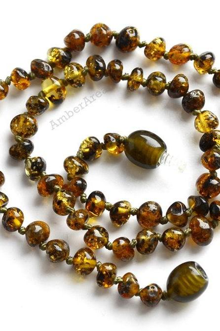 Green Amber necklace for babies, Children jewelry, Polished Amber, kids Teething Amber, genuine amber, for babies, 2845