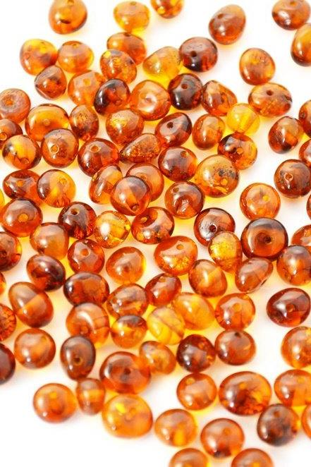 40 pcs baltic amber orange beads with holes for your jewelry making (0288)