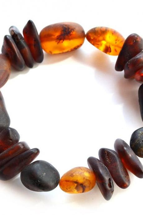 Baltic amber raw bracelet, unpolished amber, healing amber bracelet, olive flat beads amber, raw amber jewelry, N_2