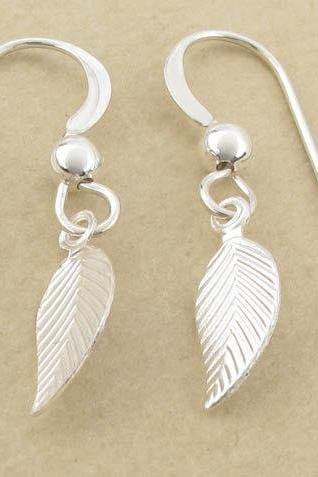 Silver leaf earrings: tiny sterling silver leaf dangle drops
