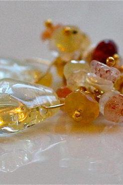Lovely Citrine Nugget and Gemmy Oregon Sunstone Keshi Pearl Gold Vermeil Dangle Earrings