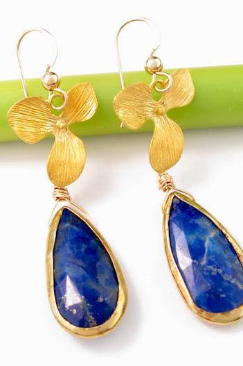 Lapis Earrings: Bezel set gemstone earrings gold orchid lapis lazuli stones