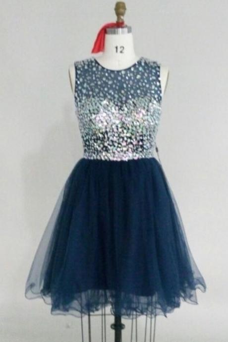 High Quality Handmade Made to Order Short Round Neckline Tulle Prom Dress with Rhinestones, Knee Length Prom Dresses, Short Prom Dress 2015, Homecoming Dresses