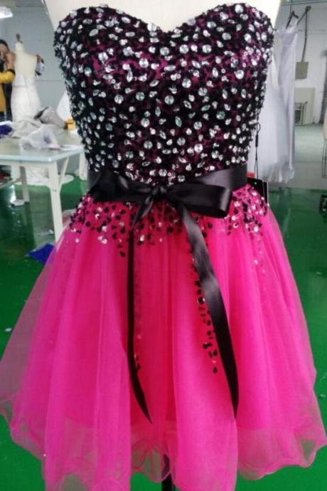 Super Cute Short Sweetheart Tulle Ball Gown Fushia Prom Dresses 2015 with Bow and Beadings, Bow Prom Dresses, Lovely Short Prom Dresses, Homecoming Dresses