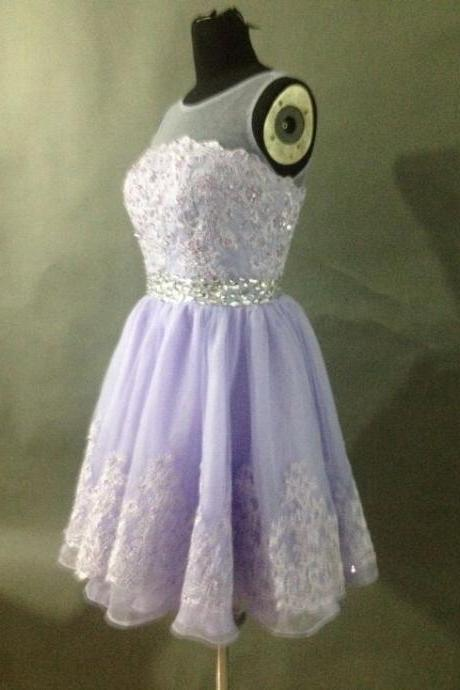 High Quality Handmade Elegant Lavender Lace Chiffon Round Neckline Short Prom Dress with Beadings, Short Lace Prom Dress, Lace Prom Dresses 2015