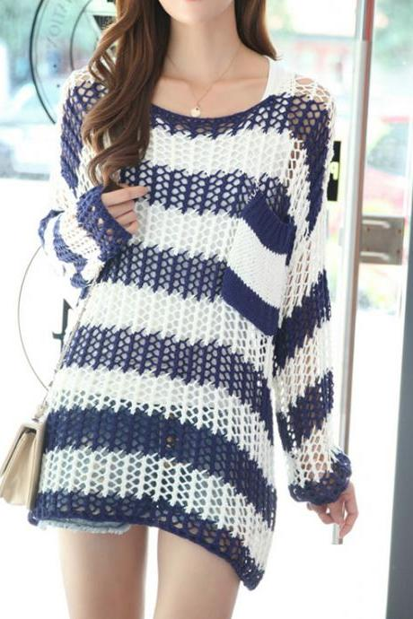 Casual Loose Stripe Crochet Sweater - Blue