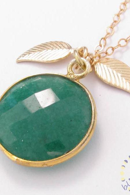 Gold necklace: green gemstone emerald necklace bezel set with leaf charm