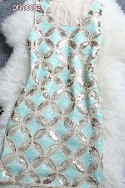 Nice Sequin Cash Pattern Sleeveless Dress