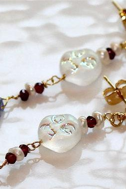 Send Me to the Moon Hammered Iolite Garnet Iridescent Freshwater Pearl Gold Vermeil Dangle Earrings