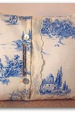 Toile de Jouy and broderie Anglaise cushion cover in french blue and cream 30cm x 40cm