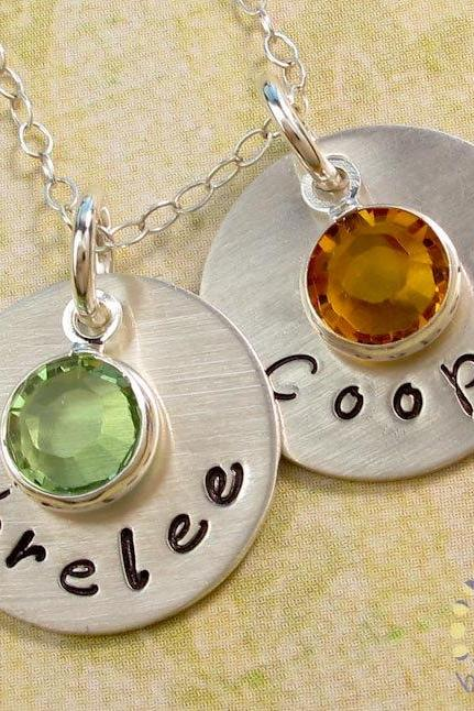 Hand stamped necklace: personalized jewelry with birthstones