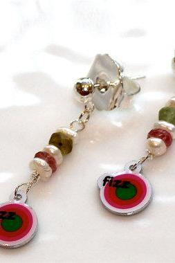 Bring on the Fizz Candy Logo Charm Pearl Tourmaline Dangle Earrings