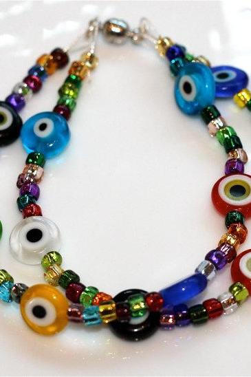 Rainbow Millefiori Multicolored Evil Eye Foil Beads Multistrand Bracelet