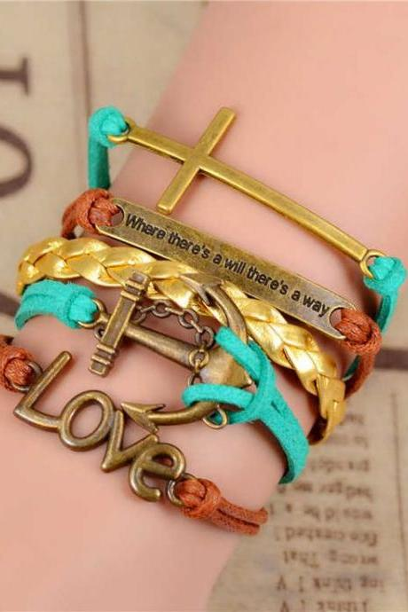 Love inspirational message pendants girl bracelet