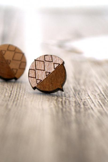 Acorn Earrings - Wood Stud Earrings