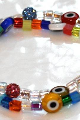 Multicolored Evil Eye and Sparkle Bracelet Millefiori Charm Sparkle Multistrand Bangle