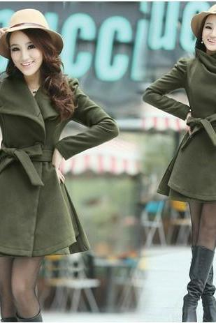 Cultivate One's Morality Thickening In Long Women's Clothing Woolen Cloth Coat