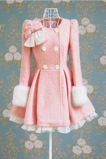 Cute Pink Woolen Autumn/Winter Overcoat With Bow Adorable Woolen Coat Winter Coat