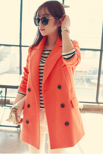 Orange Women Casual Office Chic Trendy Modern Look Long Jacket Winter Autumn Coat Outerwear