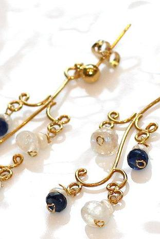 Awesome Blue Kyanite and White Topaz Keshi Pearl Gold Vermeil Chandelier Dangle Earrings