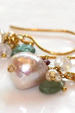 Nucleated Iridescent Freshwater Pearl Gemmy Green Tourmaline White Topaz Gold Vermeil Dangle Earrings