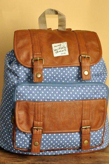 Blue Polka Dots Backpack -