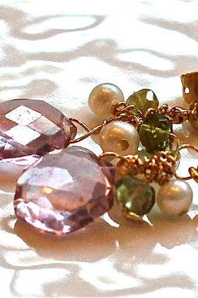 Pink Topaz Faceted Hexagon and Gemmy Green Tourmaline Pearl Peridot Gold Vermeil Dangle Earrings