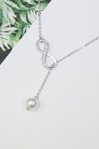 Silver Infinity Necklace, Swarovski pearl, Lariat Necklace, Y Necklace, Bridesmaid Gift, Friendship Necklace, Friendship Jewelry,white pearl