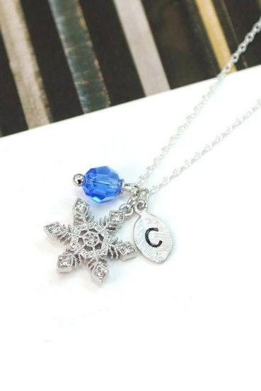 Crystal Snowflake Necklace, Personalized initial and crystal, Christmas Gift, For winter, Bridesmaids Gifts,Wedding jewelry Gift