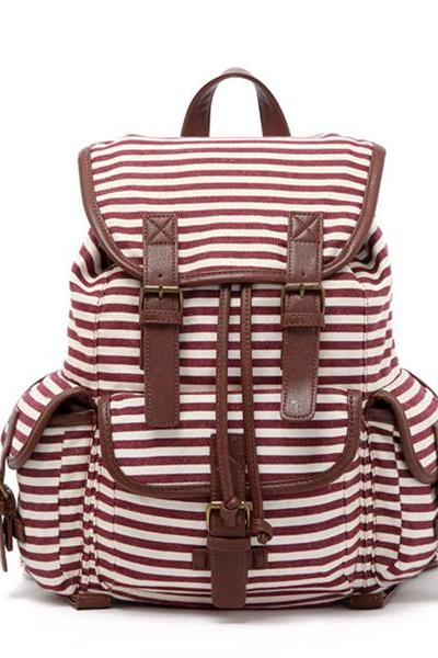Stripes Printed Backpack With Double Buckles Detail