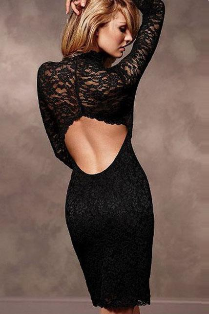 Sexy Back Black Lace Dress