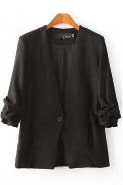 New Style Ruffled Sleeves Single Buckle Designed Solid Black Cotton Blend Blazer
