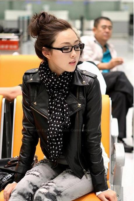 Free Shipping Punk Lapel Rivet PU Leather Women's Jacket