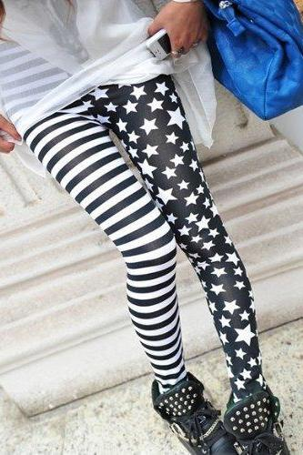 HOT Fashion New Stripes Stars Splicing Leggings Tights Legwear Pants Cool Design