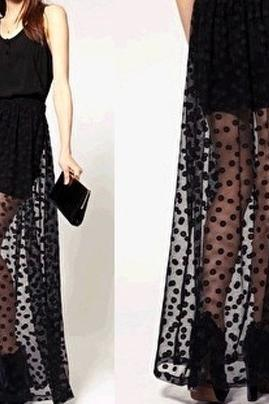 Retro Polka Dot Perspective Gauze Skirt