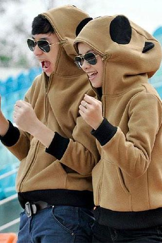 Couple Matching Full Zip Up Hooded Panda Sweatshirt Jacket