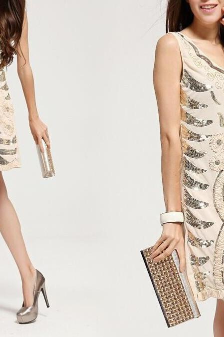 Slim Sequined Vest Dress