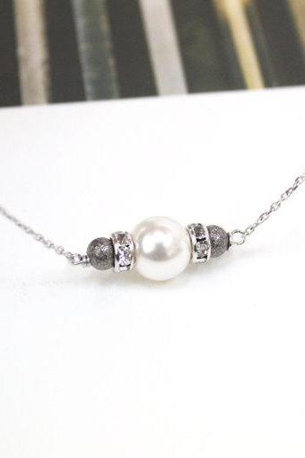 Swarovski White Pearl necklace, white pearl necklace, bead bar necklace, pearl bar
