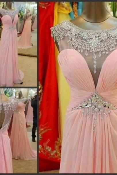 Beautiful Handmade Pink A-line Sweep Train Chiffon Prom Dresses with Beadings, High Quality Handmade Pink Prom Dresses, Prom 2015, Formal Dresses