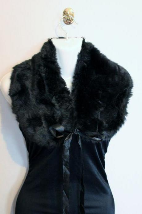 Black faux fur collar 1920s pin up dress up girls womens