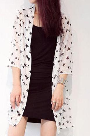 Summer Stars Print Sheer Chiffon Jacket For Sun Protection
