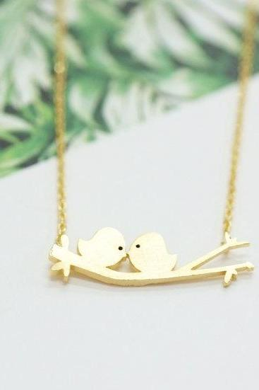 Two Birds On A Branch Necklace, Two Love Birds,Couple, For Mom, Girlfriend GiftsKissing Love Birds