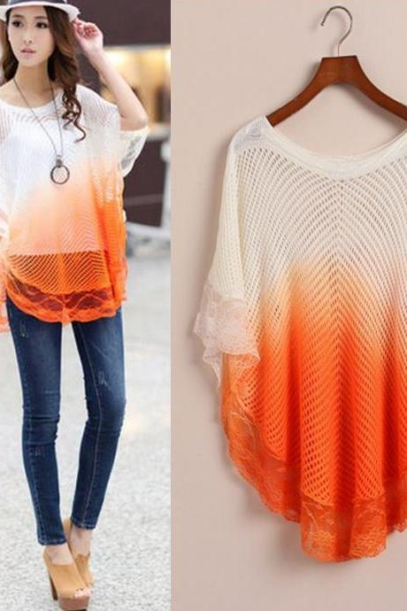Loose Cutout O-Neck Lace Gradient Color Medium-Long Crotchet Women