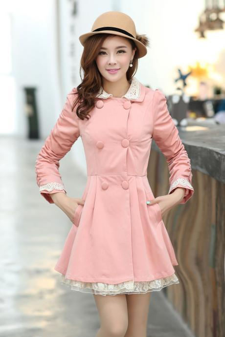High Quality New Slim Lace Side Hubble Sleeve Lady's Sweet Coat