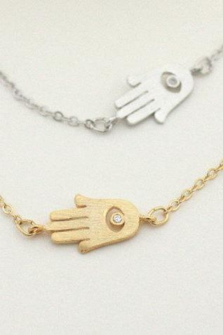 Hamsa hand necklace, offset to the side, hamsa, sideway hamsa